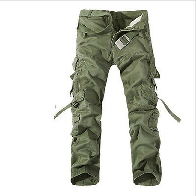2018 New Mens Loose Casual Cotton Summer Military Cargo Pockets Long Work Pants