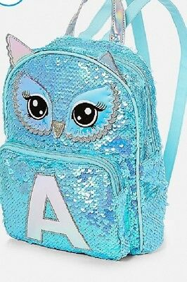 Justice Girls Initial ( A ) Owl Flip Sequin Initial Mini Backpack 🎒 NWT