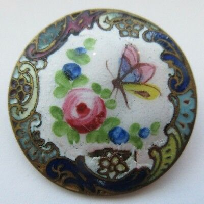 Lovely LARGE Antique French Champleve ENAMEL BUTTON Butterfly & Flowers (P10)