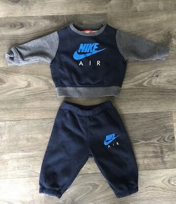 Boys NIKE AIR Tracksuit Size 3-6 Months VGC. Navy And Grey