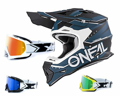 Oneal 2Series RL Crosshelm Slingshot schwarz mit TWO-X Race Brille MX Motocross
