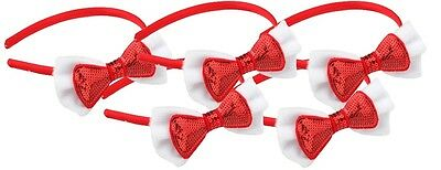 Zest 5 Pack Christmas Satin Alice Band with Sequinned Bow Hair Accessory Red