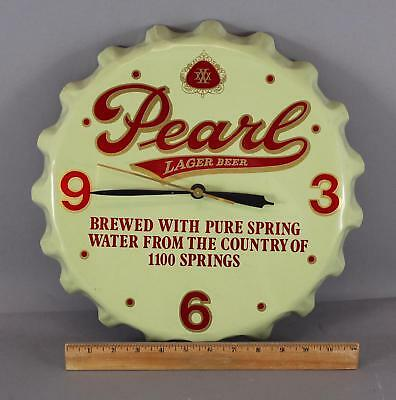 Vintage 1960s Texas Pearl Larger Beer, Bottle Cap Clock, Advertising Sign