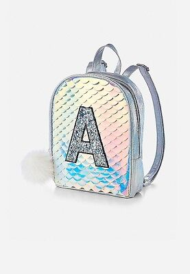 Justice Girls Initial ( P ) Mermaid Scale Mini Backpack 🎒 NWT