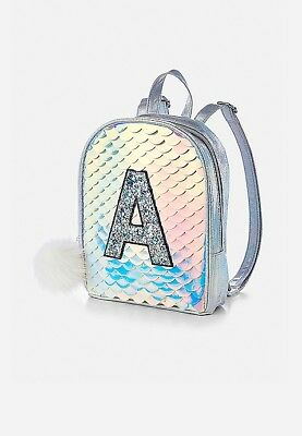 Justice Girls Initial ( I ) Mermaid Scale Mini Backpack 🎒 NWT