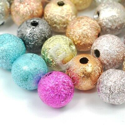 40/130pcs Acrylic Round Stardust Spacer Loose Beads DIY Jewelry Makings 8mm/6mm