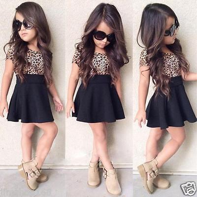 Summer Kids Baby Girls Dress Leopard Printing Short Sleeve Dress Clothes 2-9Y UK