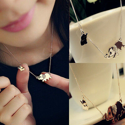 Korean Women Elephant Family Stroll Pendant Crystal Chain Necklace Jewelry Gift