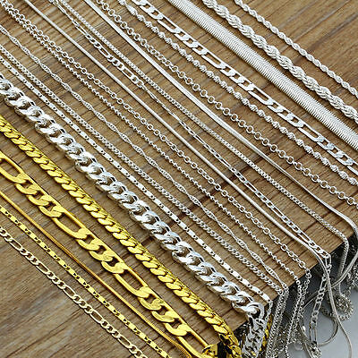 """HOT 925 Silver Male Female Figaro Rolo Snake Box Chain Necklace 16""""-30"""" Wedding"""
