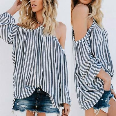 Women's Off The Shoulder Striped Blouse Strapless T-Shirt Casual Loose Tee Tops