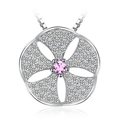 JewelryPalace Flowers Created Pink Sapphire Cubic Zirconia Pendant 925 Silver