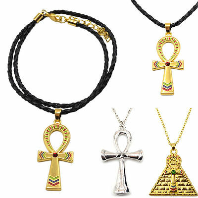 Vintage Gold Silver Egyptian Ankh Cross Symbol Of Life Pendant Necklace Charm