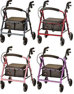 Nova GetGO Junior Foldable Rolling Mobility Walker Rollator - 4 COLOR CHOICE