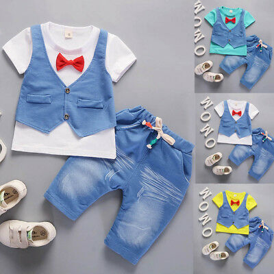 Toddler Kids Baby Boys Denim Short Sleeve T-shirt+Pants Gentleman Clothes Set