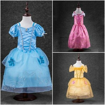Kids Girls Fairytale Costume Aurora  Rapunzel Princess Dress Up Belle Cinderella
