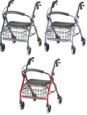 Nova Cruiser Deluxe Junior Folable Rolling Mobility Walker Rollator Red or Blue