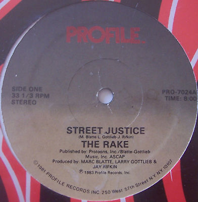 "THE RAKE ~ Street Justice ~ 12"" Single USA PRESS"