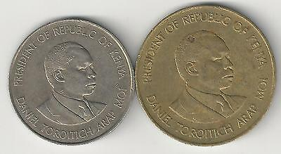 2 DIFFERENT COINS from KENYA - 10 CENTS & 1 SHILLING (BOTH DATING 1980)