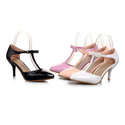 Ladies Party Shoes Synthetic Leather High Heels Pumps Strap Sandals AU Size s905