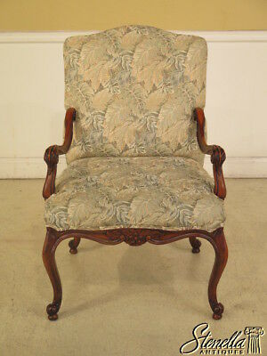 28086: Calico Corners French Carved Open Arm Upholstered Chair