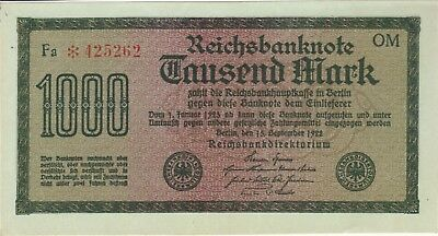 82a Germany 1922 1000 Mark unissued note  UNC P