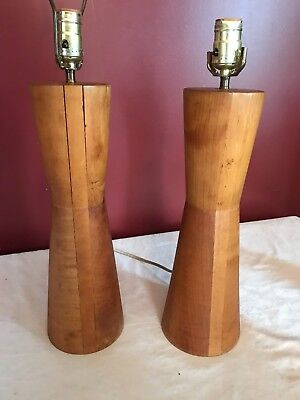 """Pair 1960s Mid Century Modern MCM Turned Wood """"Bowtie"""" Lamps 28"""" Tall UNIQUE"""