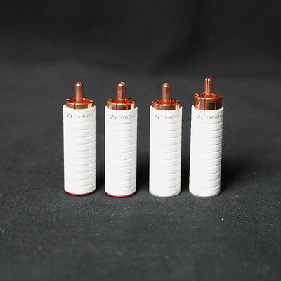 Gaofei white Red Copper RCA Plug Connector RED05R Audiograde 4pcs  / tube amplif