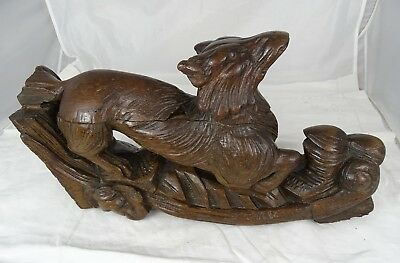French Antique Large Carved Oak Wood Hunt Theme Sculpture Wild Fox Black Forest