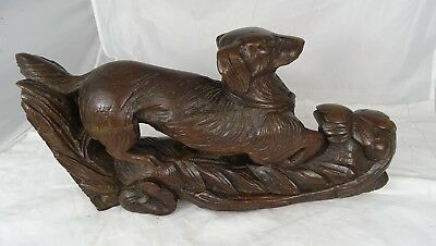French Antique Large Carved Oak Wood Hunt Theme Sculpture Dog Black Forest