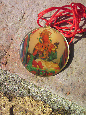 "Vibrant Red Tara Chagdud Tulku Tibetan Buddhist Pendant Necklace 1 1/2"" Red Cord"