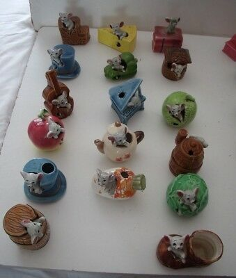 17 Vintage Mice Ornaments - All Different - Ceramic China - Bundle/lots