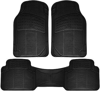 Car Floor Mats for Honda Civic 3pc Set All Weather Rubber Semi Custom Fit Black