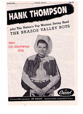 1954 Hank Thompson and theThe Brazos Valley Boys Debut Album Print Advertisement