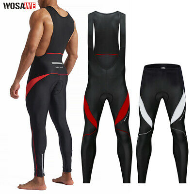 Mens Cycling Bib Tights+Knee Fleece 3D Cushion Bike Pants Reflective Sleeveless