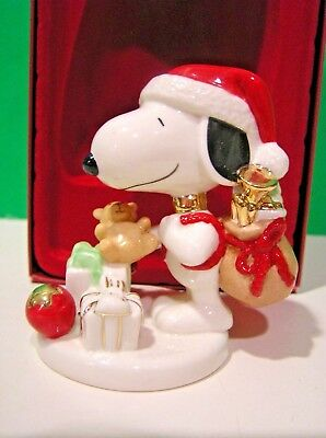 LENOX Peanuts NIGHT BEFORE CHRISTMAS SNOOPY Santa sculpture NEW in BOX