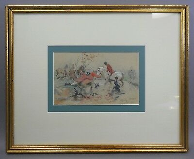 Antique English Watercolor Alfred Strutt Framed Victorian Painting Equestrian