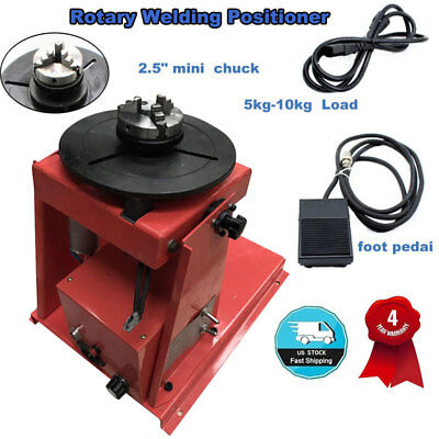 """110V 2.5"""" Auto Rotary Welding Positioner Turntable Table 3 Jaw Lathe Chuck US"""