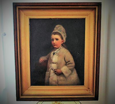 LARGE Antique 19c Portrait Painting Little Girl Child Oil on Canvas Framed