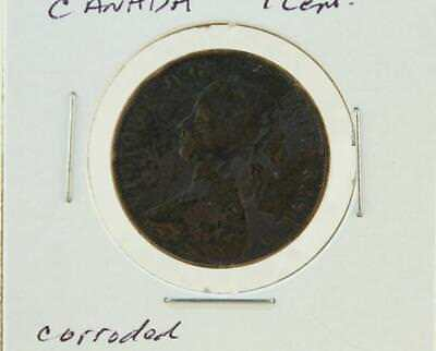 Antique Coin 1864 Canada New Brunswick One 1 Cent Queen Victoria British