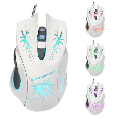 5500 DPI LED Light USB Optical Wired Gaming Mouse Mice For PC Laptops Pro Gamer