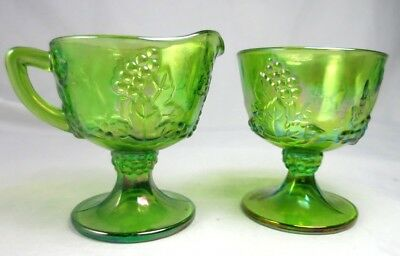 Harvest Carnival Creamer Open Sugar Bowl Footed Set Green By Colony
