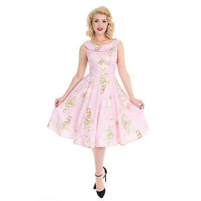 Hearts & Roses London Baby Pink Fairy Princess Vintage Retro 1950s Floral Dress