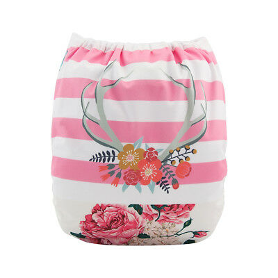 ALVABABY Cloth Diaper Girl One Size Reusable Washable Pocket Nappy +1 Insert