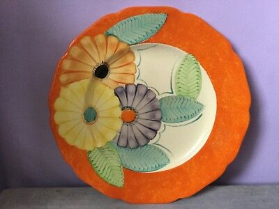Art Deco GRAYS POTTERY Handpainted FLORAL DISPLAY PLATE 1930s A428 2