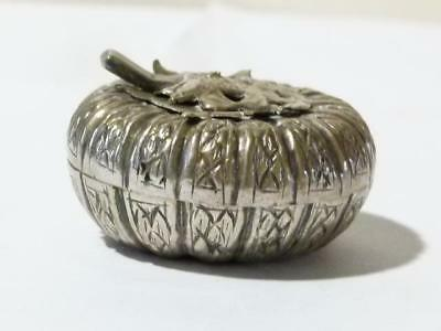 Antique Silver Metal Repousse Indian Asian Middle Eastern Pumpkin Shaped Box