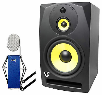 """Blue Blueberry Condenser Recording Microphone Mic + 10"""" Powered Studio Monitor"""