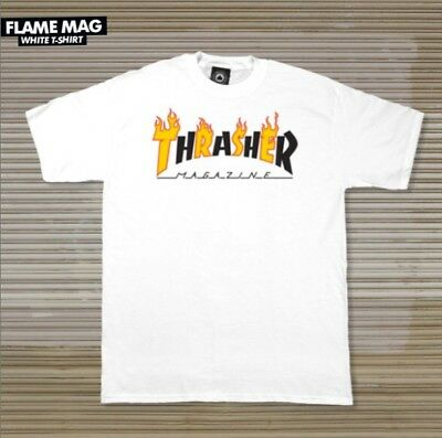 93b58785609d THRASHER MAGAZINE FLAME Mag Logo T Shirt White Men s Size Medium ...