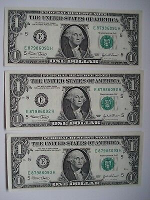 Lot Of 3 Usa 1 Dollars Paper Series 2003 Uncirculated