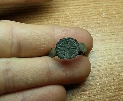 Fine Old Antique bronze Post- Medieval Ring with  Engraved    #2776
