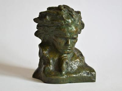 FABULOUS ANTIQUE 1930s FRENCH VERDIGRIS BRONZE BUST OF BEETHOVEN by CIPRIANI